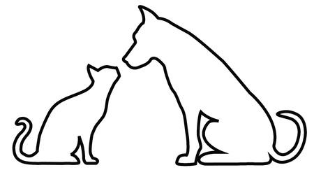 contour: Dog and cat contours composition