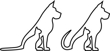 Hond en kat contouren composities