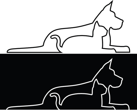 Composition of contours of dog and cat Vector