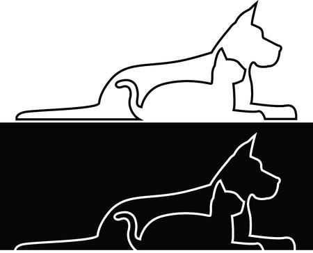 Samenstelling van de contouren van de hond en kat