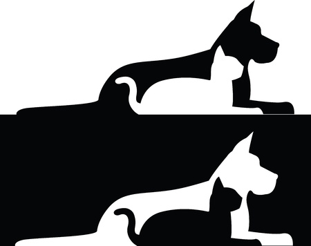 Composition of silhouettes of dog and cat Illustration