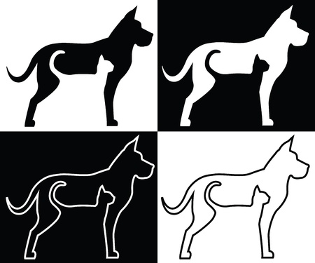 Composition of silhouettes and contours of dog and cat