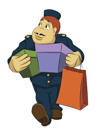Bellhop carrying boxes Illustration