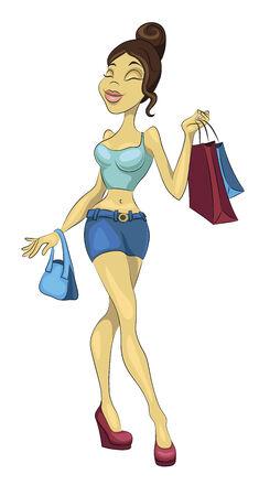 Sexy Girl Going Shopping Stock Vector - 25264973