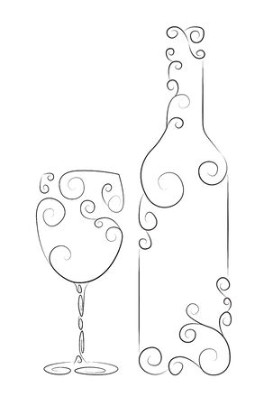 muscat: Ornamental representation of bottle and glass of wine Illustration