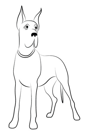 Great Dane Dog Contour Silhouette
