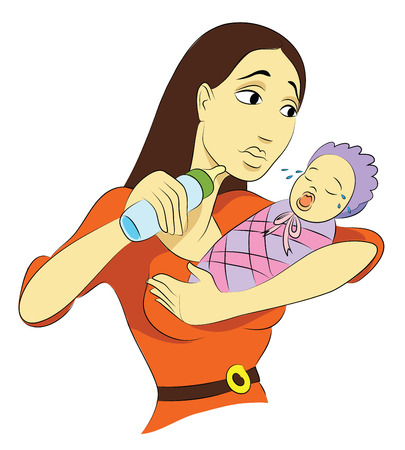 Mommy Troubled Ilustración de vector