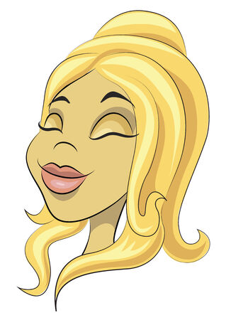 cartoon hairdresser: Young woman with a long blond hair