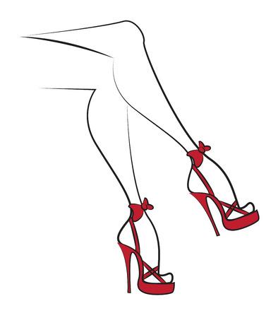 赤いハイヒールでセクシーな脚