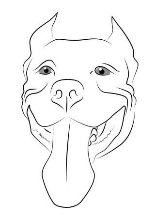 big ear: Pitbull Terrier Muzzle Illustration