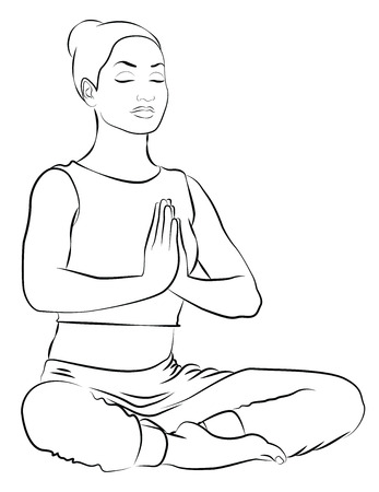 Young woman during yoga meditation in the park Illustration