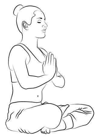fit body: Young woman during yoga meditation  Illustration