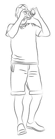 Young man with digital camera Ilustração