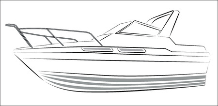 motorboats: Yacht Contour Silhouette