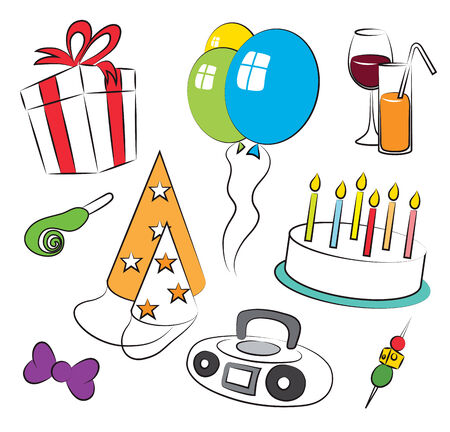 Colorful Birthday Party Symbolic Icons Set
