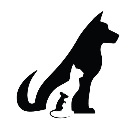 schattenbilder tiere: Hund Katze und Maus Silhouetten