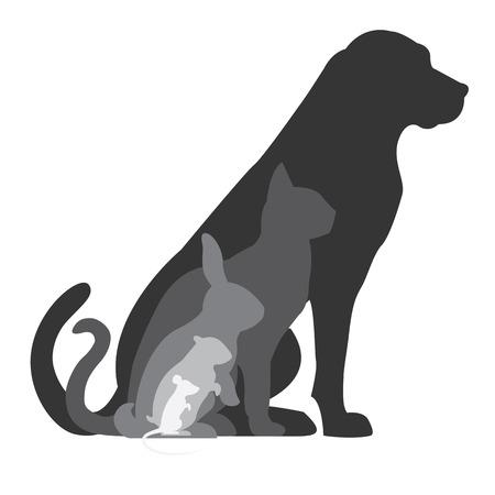 perro familia: Composición gato Perro hámster conejo y ratón siluetas