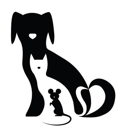 perro familia: Perro gato divertido y composición del ratón