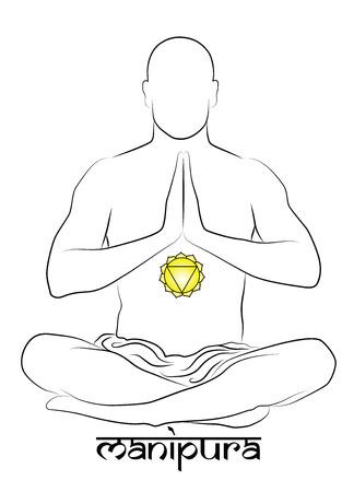 chakra awareness: Manipura yoga chakra Illustration