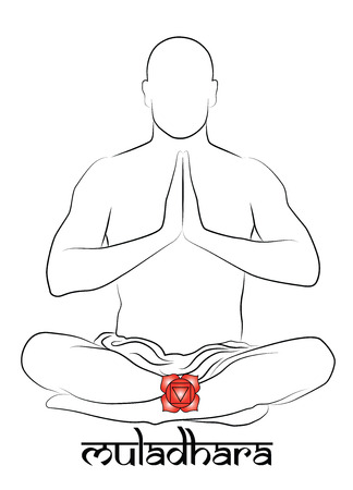 energy healing: Muladhara yoga chakra Illustration