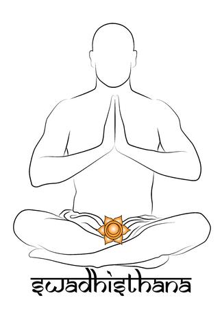 chakra awareness: Swadhisthana yoga chakra Illustration