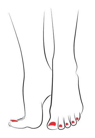 Vrouwelijke voeten met rode Pedicure