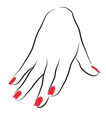 赤のマニキュアの女性ヤシ