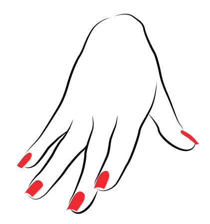 Female Palm with Red Manicure Illustration