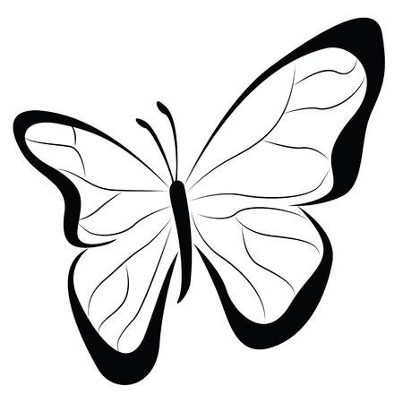 蝶白で隔離  イラスト・ベクター素材