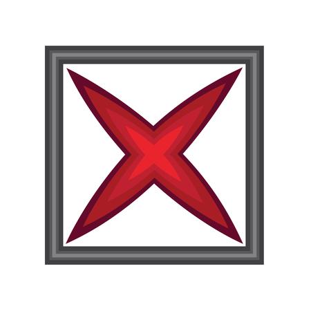 白で隔離ウィンドウでシンボルをクロス  イラスト・ベクター素材