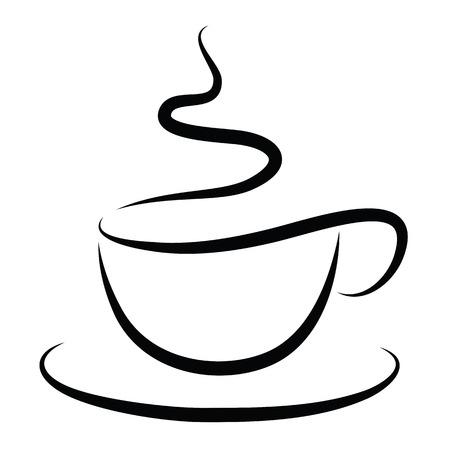 Kop warme koffie op wit wordt geïsoleerd Stock Illustratie