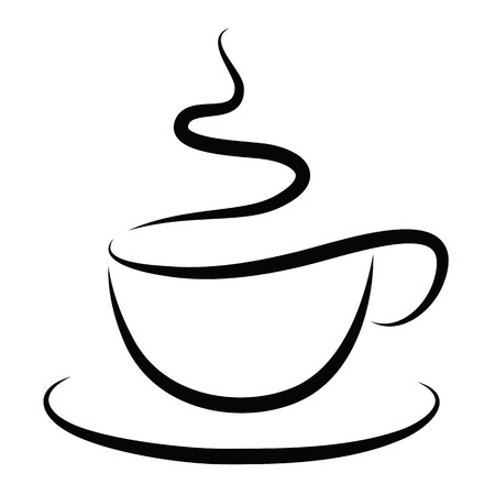 Tazza di caffè caldo isolato su bianco Vettoriali