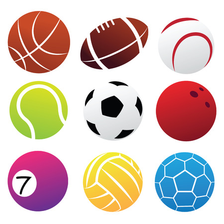 Simplified Sport Balls Icon Set isolated on white Illustration