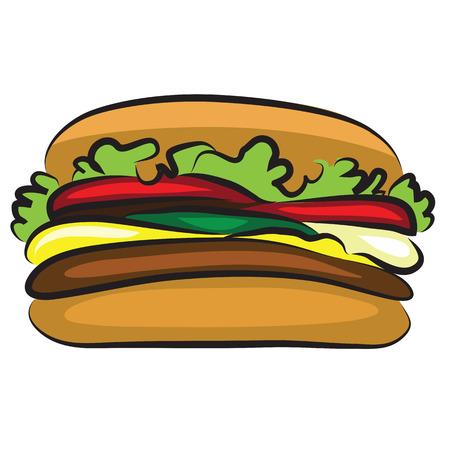 白で隔離されるおいしい漫画ハンバーガー