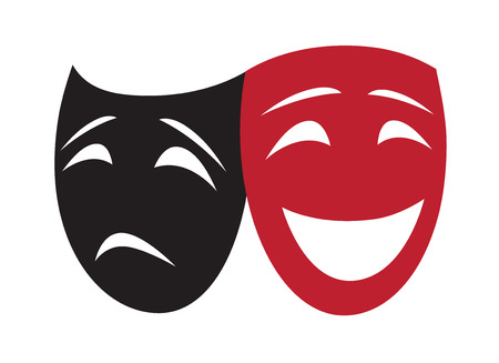 drama mask: Theatrical Masks Illustration