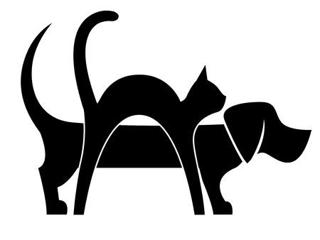 Perro y gato Composición aislado en blanco