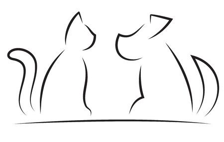 猫と犬の輪郭の簡体字シルエット白で隔離されます。