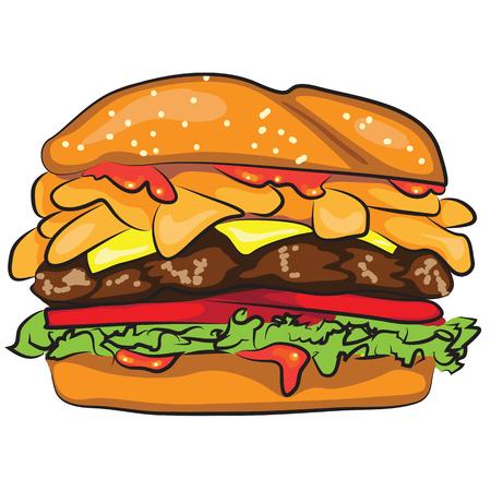 白で隔離おいしい漫画ハンバーガー
