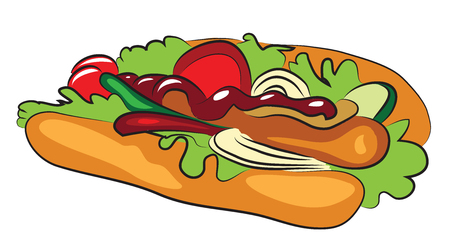 Cartoon Hot Dog isolated on white Ilustrace