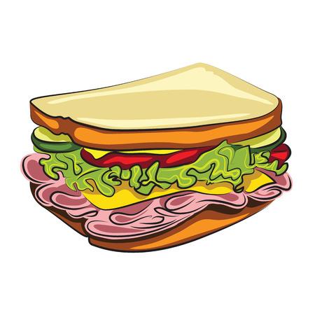 白で隔離されるおいしい漫画サンドイッチ  イラスト・ベクター素材