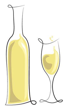 白ワインの瓶、ガラス