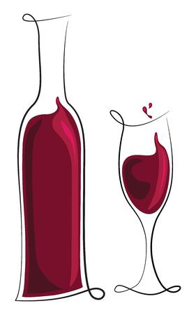 red wine bottle: Cristal y botella de vino tinto