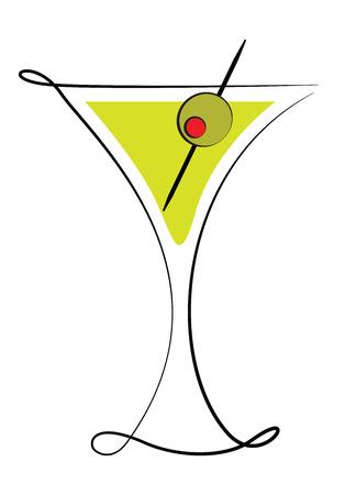 Déco en verre de Martini avec olive Banque d'images - 28621959