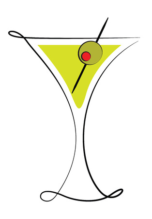 glass with red wine: Deco Martini Glass with Olive Illustration