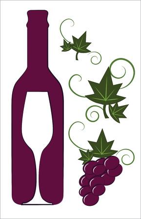 赤ワインのボトルとガラス花デコ要素