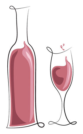 ロゼ ワインの瓶、ガラス