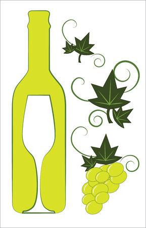 白ワインの瓶とガラス花デコ要素