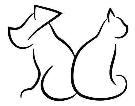 Kat en Hond Contour vereenvoudigd Zwarte silhouetten op wit wordt geïsoleerd
