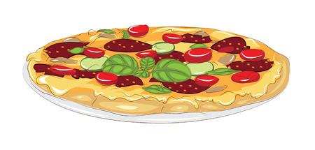白で隔離のおいしいピザ  イラスト・ベクター素材