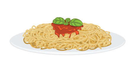 맛있는 스파게티는 흰색에 고립 된 일러스트